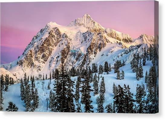 Ski Canvas Print - Mount Shuksan At Sunset by Alexis Birkill