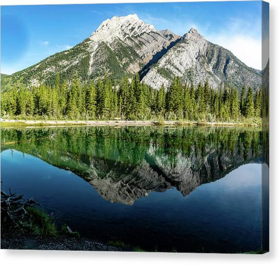 Mount Skogan Reflected In Mount Lorette Ponds, Bow Valley Provin Canvas Print