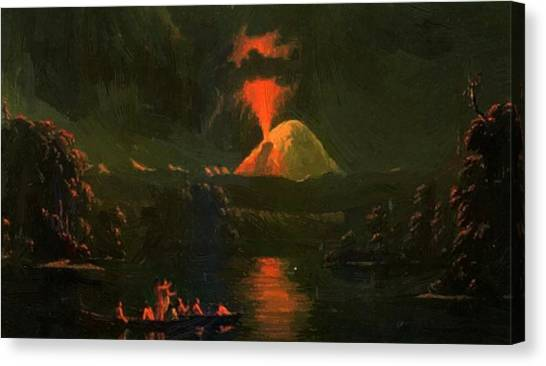 Mount St Helens Erupting At Night Canvas Print