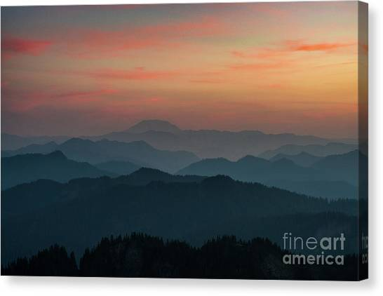 Mount St. Helens Canvas Print - Mount St Helens Sunset Layers by Mike Reid