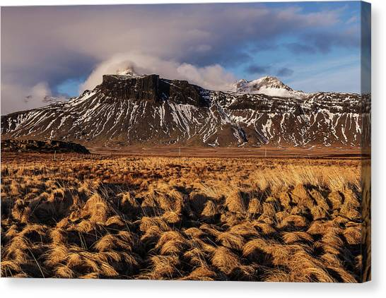 Canvas Print featuring the photograph Mountain And Land, Iceland by Pradeep Raja Prints