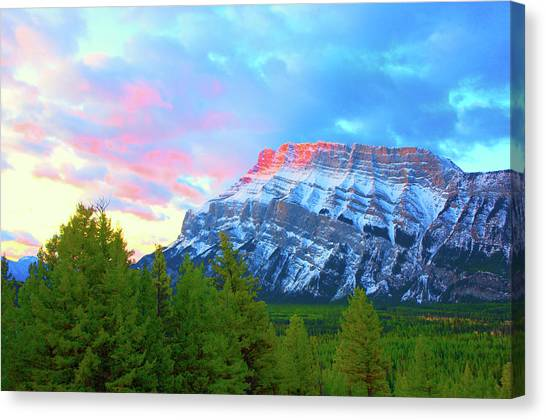 Mountain At Dawn Canvas Print by Paul Kloschinsky