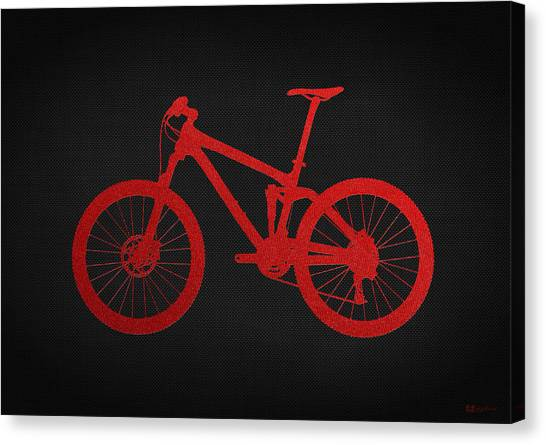 Pop Art Canvas Print - Mountain Bike - Red On Black by Serge Averbukh