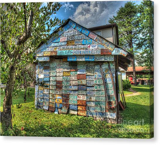 Mountain Dew Canvas Print - License Plates On Country Shed by Greg Hager
