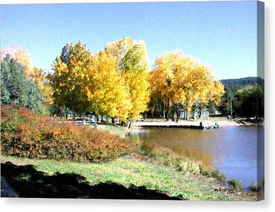 Canvas Print featuring the digital art Mountain Lake Autumn by Deleas Kilgore