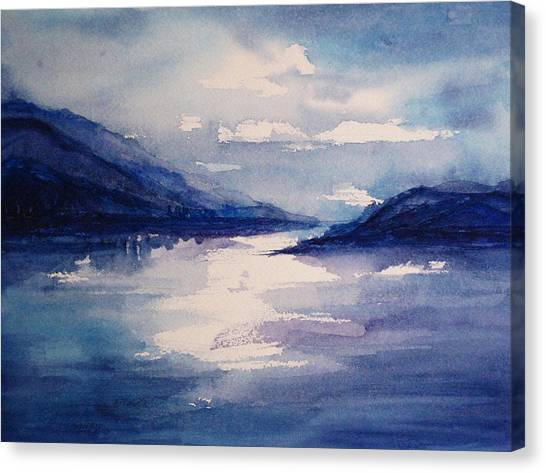 Mountain Lake In Blue Canvas Print by Suzanne Krueger