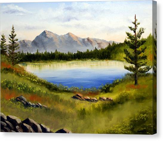 Mountain Lake Landscape Oil Painting Canvas Print