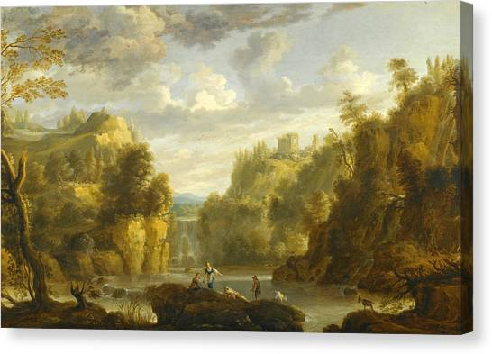 The Forum Canvas Print - Mountain Landscape With A Waterfall And A Capriccio View Of The Forums And Temple Of Vesta At Tivoli by Attributed to Gillis Peeters the Elder