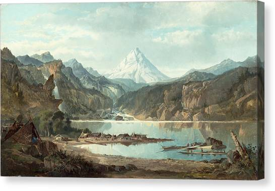 1870 Canvas Print - Mountain Landscape With Indians by John Mix Stanley