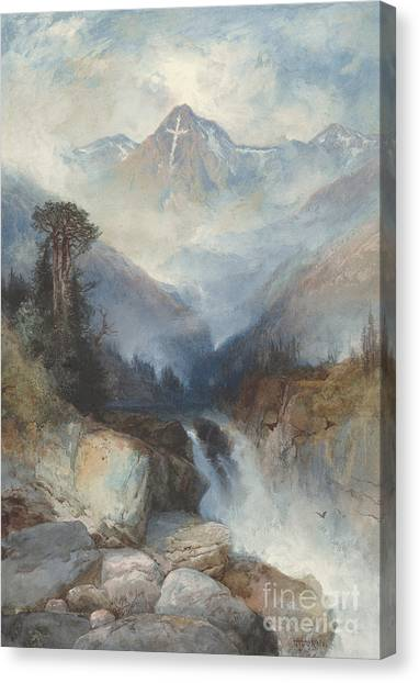 Great Falls Of Yellowstone Canvas Print - Mountain Of The Holy Cross by Thomas Moran