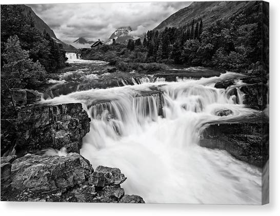 Beauty Mark Canvas Print - Mountain Paradise In Black And White by Mark Kiver