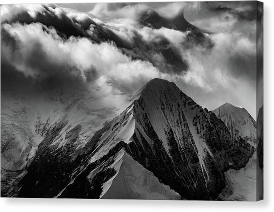 Denali Canvas Print - Mountain Peak In Black And White by Rick Berk