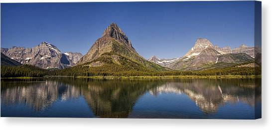 Glacier National Park Canvas Print - Mountain Reflection Panorama by Andrew Soundarajan