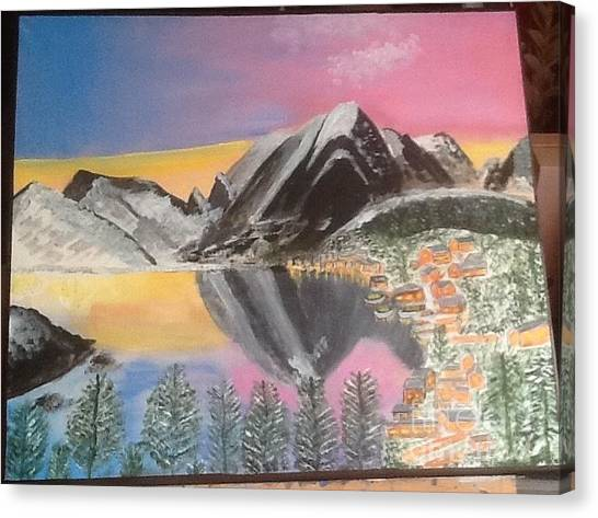 Mountain Reflections Canvas Print by Audrey Pollitt