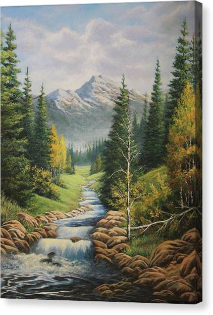 Mountain River View Canvas Print by Diana Miller