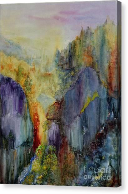 Canvas Print featuring the painting Mountain Scene by Karen Fleschler