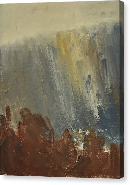 Mountain Side In Autumn Mist. Up To 90x120 Cm Canvas Print