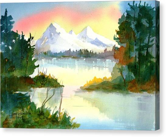 Mountain Sunset Canvas Print by Larry Hamilton