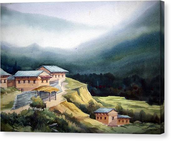 Mountain Village From Top View Canvas Print