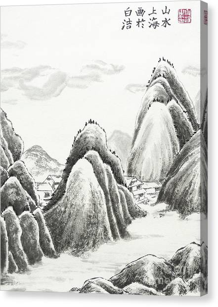 China Town Canvas Print - Mountain Village - Ink by Birgit Moldenhauer