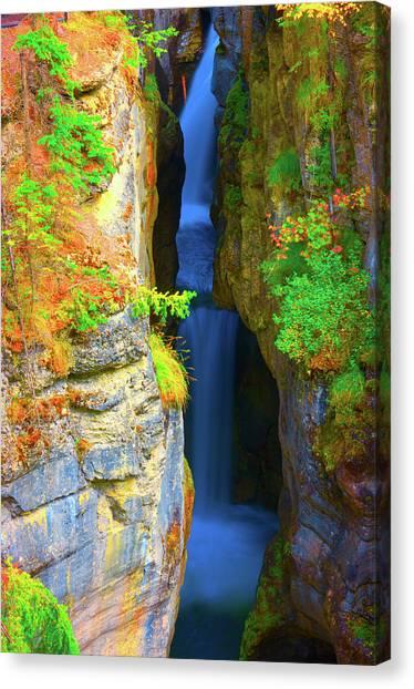 Mountain Waterfall Canvas Print by Paul Kloschinsky