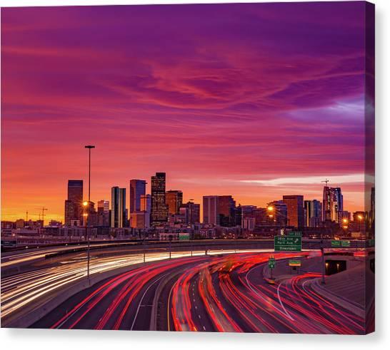 Interstates Canvas Print - Mountain Wave Cloud Sunrise Over I-25 by Bridget Calip