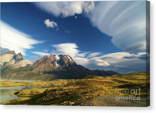 Mountains And Clouds In Patagonia Canvas Print