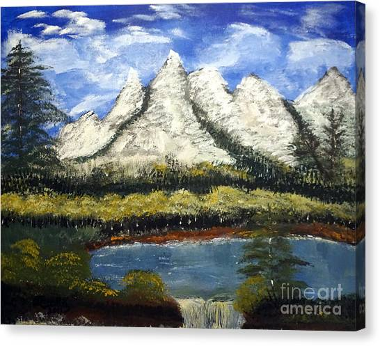 Mountains And Evergreens Canvas Print