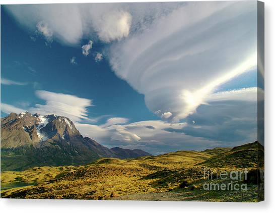 Mountains And Lenticular Cloud In Patagonia Canvas Print