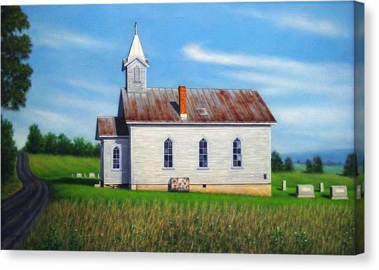 Church Yard Canvas Print - Mountain View Church by Charles Hill