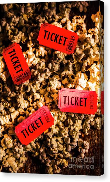 Popcorn Canvas Print - Movie Tickets On Scattered Popcorn by Jorgo Photography - Wall Art Gallery