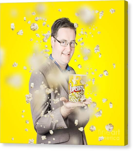 Popcorn Canvas Print - Movies Man Watching Fall Of Cinema Popcorn by Jorgo Photography - Wall Art Gallery