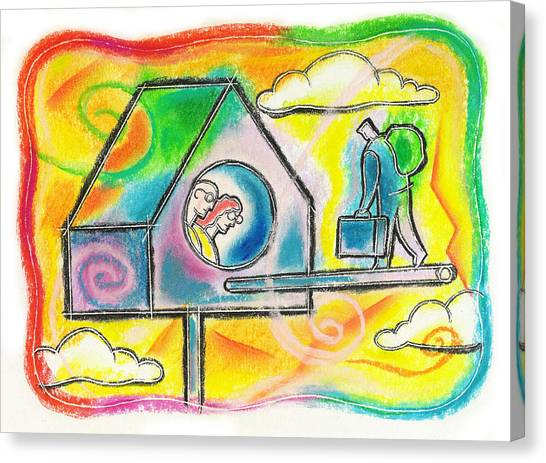 Father And Son Canvas Print - Moving Back To Your Parents Home  by Leon Zernitsky
