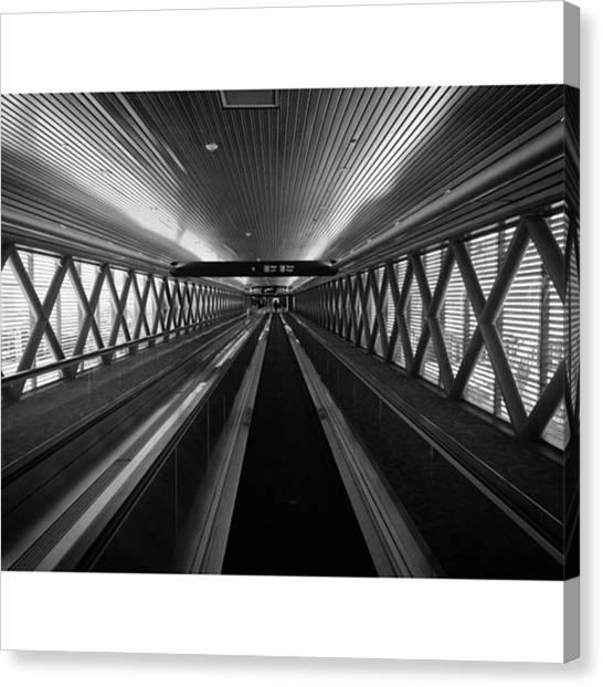 Tunnels Canvas Print - Moving Walkway At Miami Airport by Juan Silva