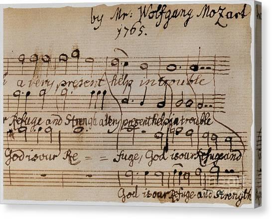 Mozart Canvas Print - Mozart: Motet Manuscript by Granger