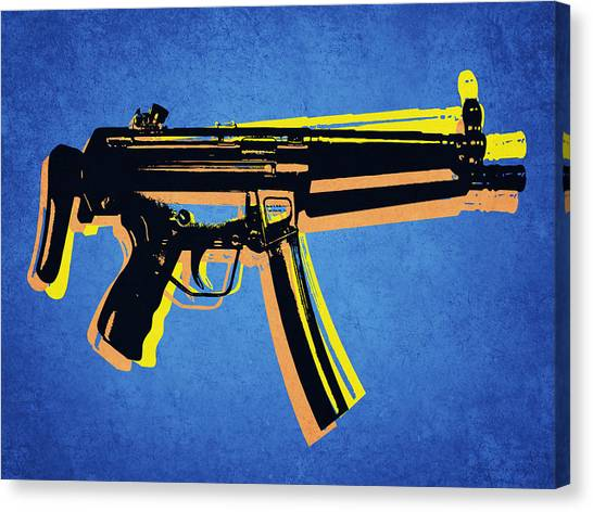Rifles Canvas Print - Mp5 Sub Machine Gun On Blue by Michael Tompsett