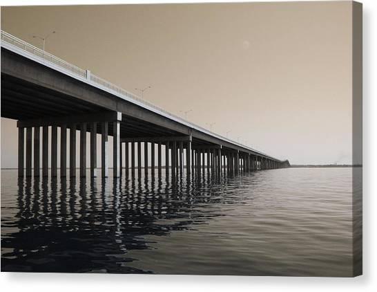 Mprints - Hwy 90 Bridge Canvas Print by M  Stuart