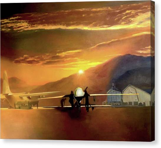 Todd Krasovetz Canvas Print - Mq-1 Predator Titled Anytime Anyplace by Todd Krasovetz