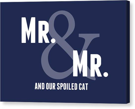 Wedding Gift Canvas Print - Mr And Mr And Cat by Linda Woods