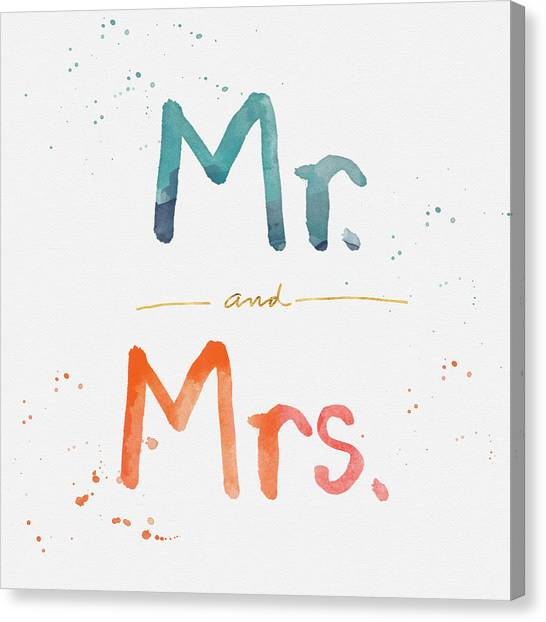 Wedding Canvas Print - Mr And Mrs by Linda Woods