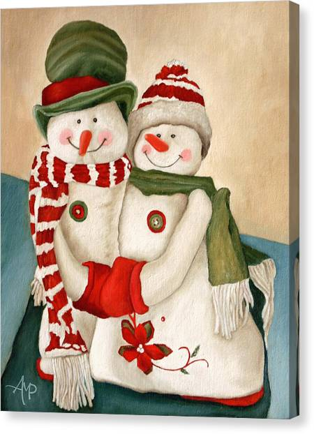 Mr. And Mrs. Snowman Vintage Canvas Print