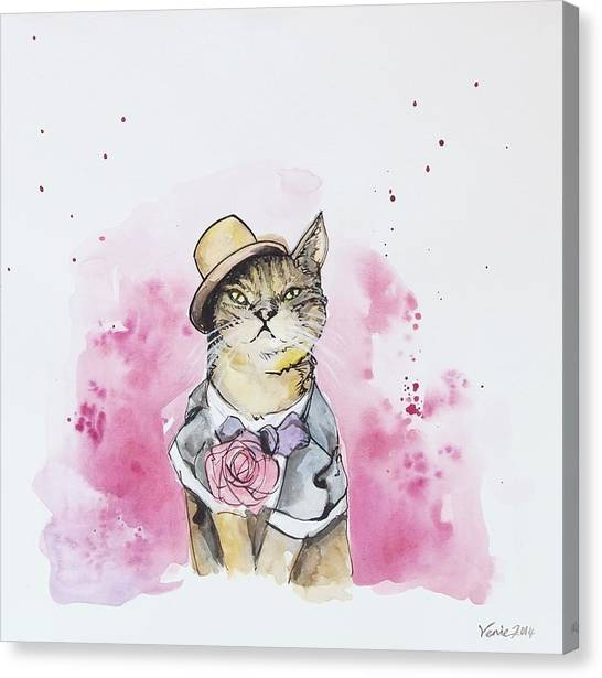 Cat Canvas Print - Mr Cat In Costume by Venie Tee