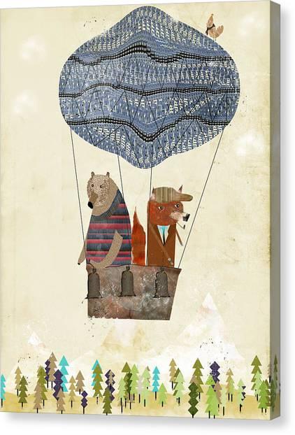 Mr Fox And Bears Adventure  Canvas Print