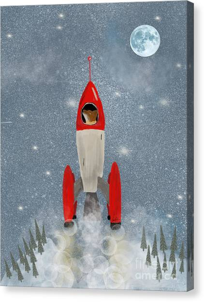 Solar System Canvas Print - Mr Fox Goes To The Moon by Bri Buckley