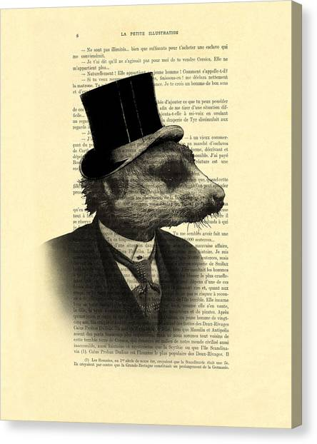 Media Canvas Print - Meerkat Portrait In Black And White by Madame Memento