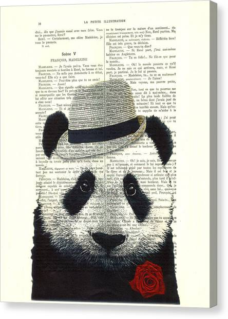 Media Canvas Print - Panda With Fedora Hat En Red Rose by Madame Memento