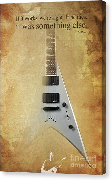 Taylor Swift Canvas Print - Dr House Inspirational Quote And Electric Guitar Brown Vintage Poster For Musicians And Trekkers by Pablo Franchi