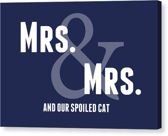 Anniversary Canvas Print - Mrs And Mrs And Cat- Blue by Linda Woods