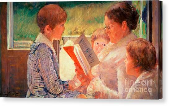 Grandma Canvas Print - Mrs Cassatt Reading To Her Grandchildren by Mary Stevenson Cassatt