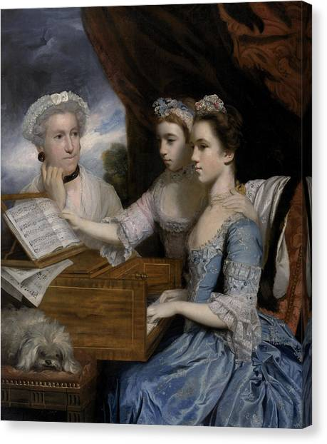 Harpsichords Canvas Print - Mrs Paine And The Misses Paine by Sir Joshua Reynolds